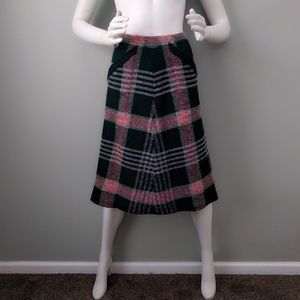 Vintage 70s Missoni Plaid Sweater Knit Skirt v-day